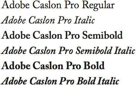 Adobe Caslon Pro type sample
