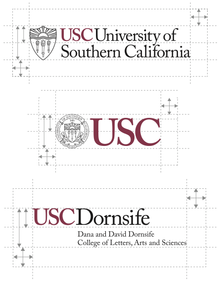 diagram showing clear space requirements for USC identity graphics