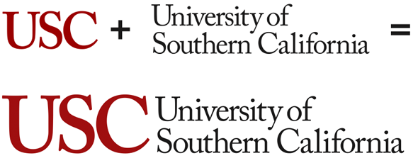 USC + University of Southern California = informal logotype