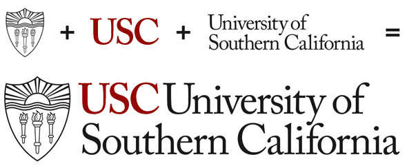 shield + USC + University of Southern California = primary logotyope
